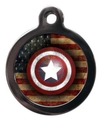 Pet ID Tag  Captain America Logo with flag Personalised tag